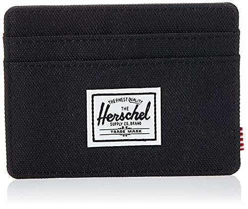 Herschel mens Charlie Rfid Card Case Wallet, black, One Size US
