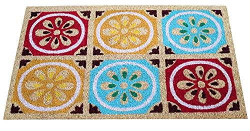 Felpudo de Coco Natural, felpudos Entrada casa, Alfombra Limpia Zapatos, Felpudo Exterior, Alfombra Entrada casa Interior, felpudos Originales y Divertidos, 40x70 (Estampado Colores)