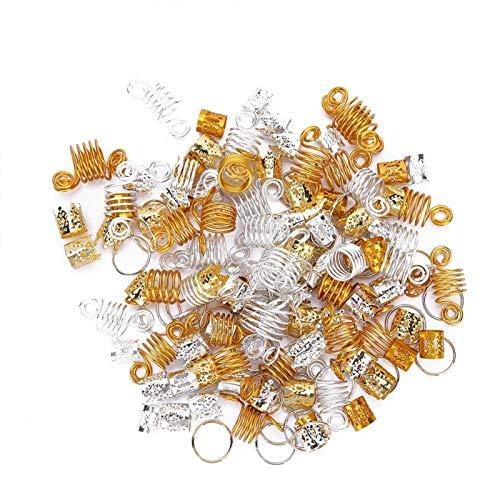 Hair Braid Rings, Dreadlocks Bead Ring, 160pcs Hair Braid Rings Dreadlocks Ring Hollow Fashion Hair Decoration Accessories