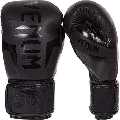 Venum Erwachsene Boxhandschuhe Elite, Schwarz Matt/Schwarz, 12 oz