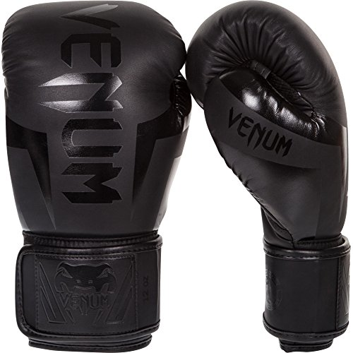 Venum Elite Boxing Gloves , Black Matt / Black, 14 oz
