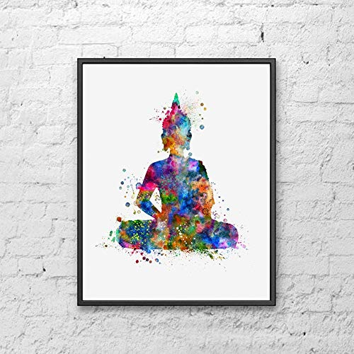 Buddha Art Print for Bedroom Watercolor Painting Buddha Watercolor Wall Hanging Buddha Art Paper Poster Wall Decor 8x10 inch Unframed
