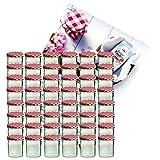 MamboCat 48er Set Sturzglas 350 ml Marmeladenglas Einmachglas Einweckglas to 82 rot Karierter Deckel incl. Diamant-Zucker Gelierzauber Rezeptheft