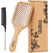 Hair Brush-Natural Wooden Bamboo Brush and Detangle Tail Comb Instead of Brush Cleaner Tool, Eco Friendly Paddle Hairbrush for Women Men and Kids Make Thin Long Curly Hair Health and Massage Scalp