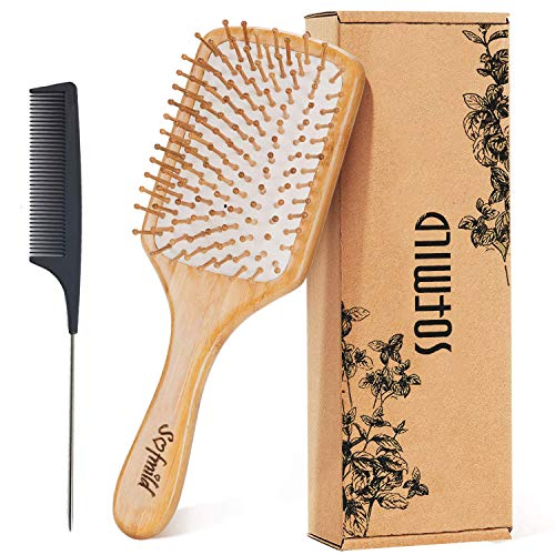 Hair Brush- Wooden Paddle Hair Brushes for Women Men and Kids Make Thin Long Curly Hair Health and Massage Scalp Brush, Natural Eco-Friendly Bamboo Brush and Detangler Tail Comb Hair Brush Set