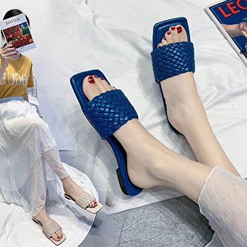 Vierkante kop plat breien slippers vrouwelijke zomer sandalen en slippers Waichuan Word schoenen