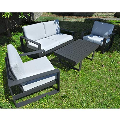 Scaramuzza Modo Set Salotto da Giardino in Alluminio Colore Grigio Divano + 2 Poltrone + Tavolino Cuscini Inclusi 171x91 cm Modello Bahamas