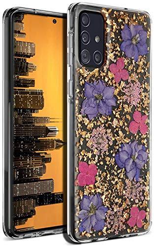 Aokebr Real Flowers Case for Samsung Galaxy A51 Pressed Dry Petals Glitter Bling Glitter Sparkle Thin TPU Soft for Girl Women SamsungA51 GalaxyA51 (Galaxy A51 4G, Purple)