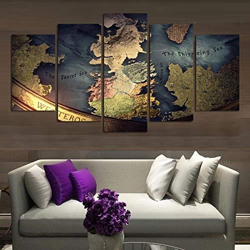 Shentop Imagenes Enmarcadas Cuadros Cuadros Poster Lienzo Marco Modular Tierra Media Mapa 5 Pieza Lona Pintura-Marco