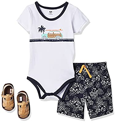 Hudson Baby Unisex Baby Cotton Bodysuit, Shorts and Shoe Set, Surf Car, 12-18 Months by Hudson Baby