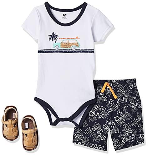 Hudson Baby Cotton Bodysuit, Bottoms and Shoe Set, Surf Car, 0-3 Months