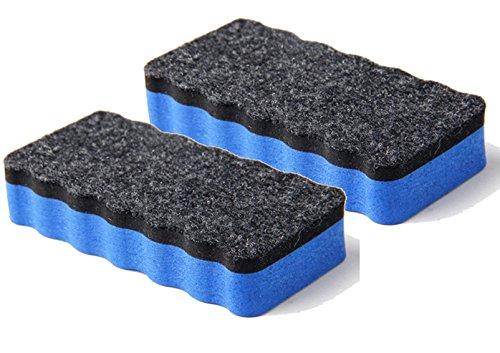 2 Whiteboardlöscher, magnethaftend, blau | Zur Trockenreinigung von Whiteboard, Planungstafeln, Glasboards