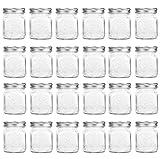 24 Pack, Mason Jars, 4 oz Mini Canning Jars Glass Jars with Lids Ideal for Jam, Honey, Wedding Favors, Shower Favors, Baby Foods, DIY Magnetic Spice Jars