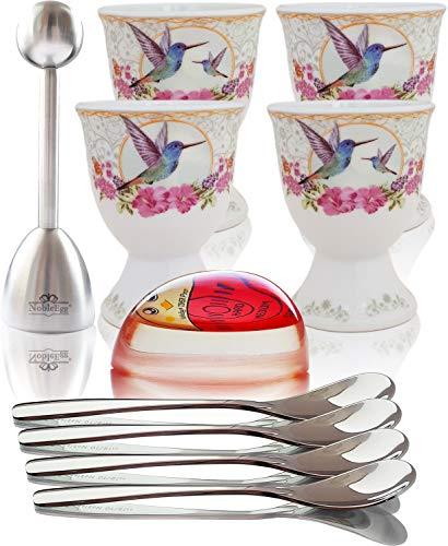 NobleEgg Premium Egg Cups for Soft Boiled Eggs   Set of 4   Egg Timer Pro   18/10 Egg Spoons   Egg...
