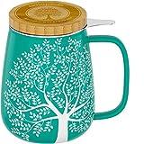 amapodo Teetasse mit Deckel und Sieb 600ml Porzellan Tasse groß, XXL Tassen Set Türkis plastikfrei