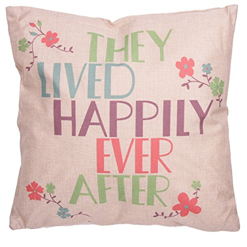 Puckator Housse et Coussin 43x43 cm CUSH77-design They Live Happily Ever After, Gris Clair/Vert/Bleu/Prune/Rose