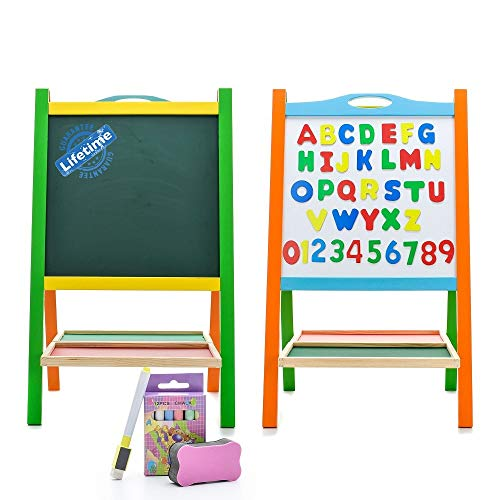 Double Sided Wooden Art Easel for Kids Standing Magnetic Whiteboard Chalkboard...