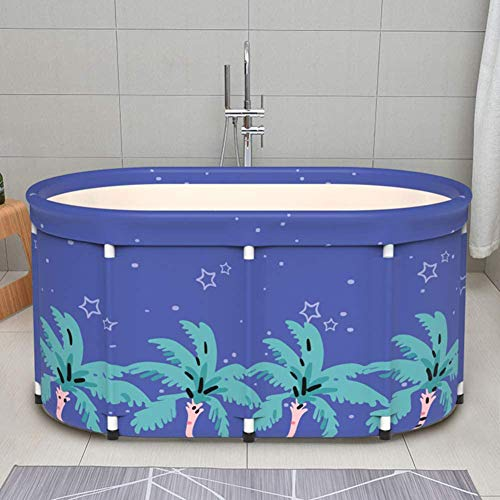 JINER Portable Folding Bathtub, Freestanding Bath Bucket, Easy to Install and Drain, Best Bath Tool for Home, Camping, School,with Cover,80cm
