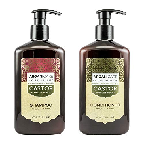 Arganicare Castor Oil Shampoo & Conditioner Value Set - with certified Organic Castor Oil & Argan Oil for healthy hair growth. Strengthens, detangles & hydrates all hair types & textures 13.5 Fl.Oz.
