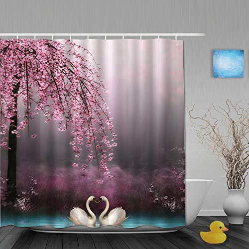 MTevocon Duschvorhang,Feen-Dämmerungs-Natur-Schwan, der unter Blüten-Baum-Feuchtgebiet-See-Dschungel küsst,Stoff Badezimmer Dekor Set mit Kunststoffhaken, enthalten - 180x180cm