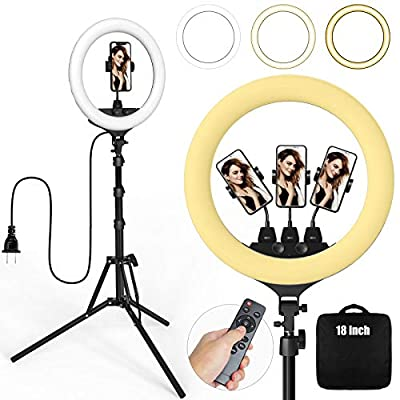 Ring Light 18 Inch 55W LED Ringlight Kit with Tripod Stand with Phone Holder Adjustable Color Temperature Circle MUA Lighting for iPhone Camera, Makeup, YouTube, Video Shooting, Selfie from KAFiIN