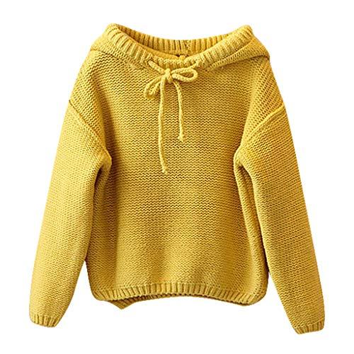 FeiliandaJJ Mädchen Jungen Kapuze Pullover Kinder Baby Winter Warm Langarm Strickpullover Pullis Sweater Mantel (130(6-7 Jahre), Gelb)