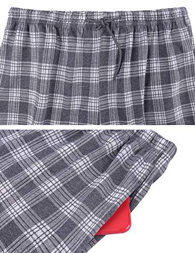Irevial cómodo Pijamas Hombre Algodon 2 Piezas,Manga Larga Camiseta de Color Puro y Calidad Pantalón de celosía, Talla Grande