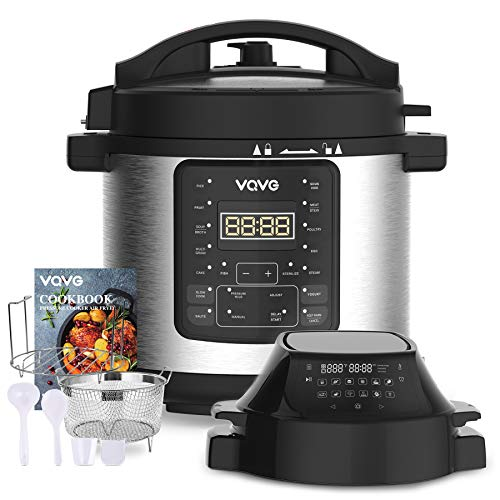 VQVG Pressure Cooker Air Fryer, Steamer, Slow Cooker, Multi-Cooker, and More, Air Fryer Pressure Cooker Combo, Two Detachable Lids, Dual Control Panel, 6 QT for Home, Included Basket Rack Recipe Book