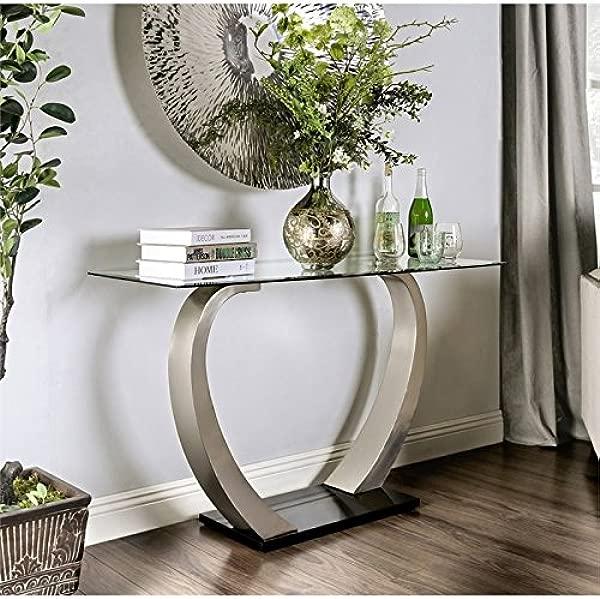 家具美国纳瓦玻璃玄关桌缎