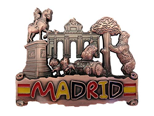 Iman Nevera Madrid España Regalos Merchandising (Puerta ALCALÁ Cibeles Oso MADROÑO (Color Bronce))