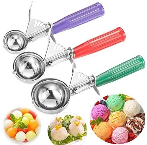 YDH Cuchara de helado para helado, 3 unidades, de acero inoxidable, para bolas de hielo, galletas, cupcakes, con disparador de melón, de acero inoxidable, pequeña, mediana, grande