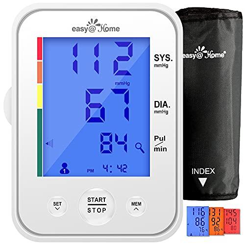 Easy@Home Tensiomètre Bras Electronique Compact Détection de Pulsations Cardiaques Irrégulières pour 2 Utilisateurs