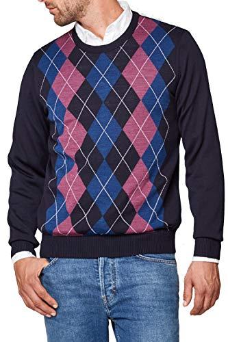 Maerz Herren Pullover Merinowolle Sweater Raute und Karo Blau 56