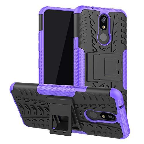 LFDZ LG K40 Custodia, Resistente alle Cadute Armatura Robusta Custodia Shockproof Protective Case Cover per LG K40 / K12 Plus Smartphone,Viola