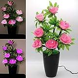 TRONJE LED Flor Artificial Rosa 63cm Peonía Maceta Ramo de Rosas 7 Flores Fibras ópticas 3 W Planta Cambio de Color