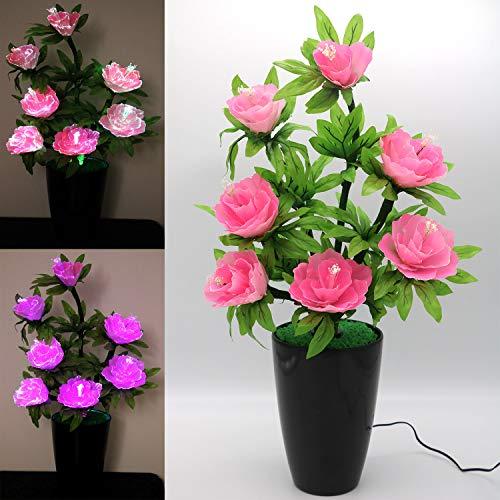 TRONJE LED-Kunstblume Rosa H:63cm Pfingstrose 3W LED-Blume 7 Blüten optische Fasern Blumentopf Farbwechsel