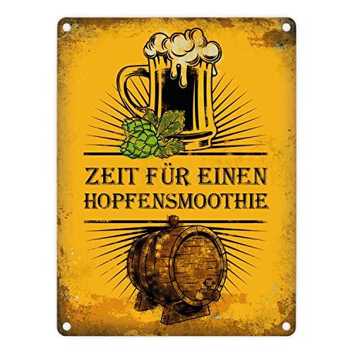 trendaffe - Metallschild mit Bier Motiv und Spruch: Zeit für einen Hopfensmoothie