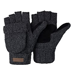 Great quality: our mitten gloves are very thick and comfortable, They are made of 50% wool and 50% Acrylic. HUMANISTIC DESIGN: One size fits most. The convertible fingerless glove is very convenient to get your fingers free to do something or put fla...
