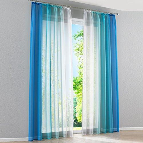 HongYa 2er-Pack Farbverlauf Gardinen Transparenter Voile Vorhänge Schals mit Kräuselband H/B 245/140 cm Blau
