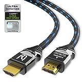 Abbildung Ultra HDTV 8K HDMI-Kabel - 2 m Ultra High Speed HDMI 2.1 Kabel (48 Gbps) für 8K@60Hz & 4K@120Hz - Premium Zertifikat - PS5 & Xbox Series X Ready - mit Vollmetall-Stecker und Nylon-Mantel