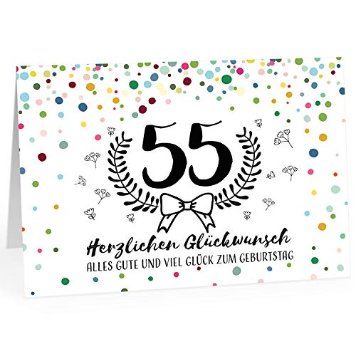 Große Glückwunschkarte zum 55. Geburtstag XXL (A4) Schnaps-Zahl/mit Umschlag/Edle Design Klappkarte/Glückwunsch/Happy Birthday Geburtstagskarte/Extra Groß/Edle Maxi Gruß-Karte