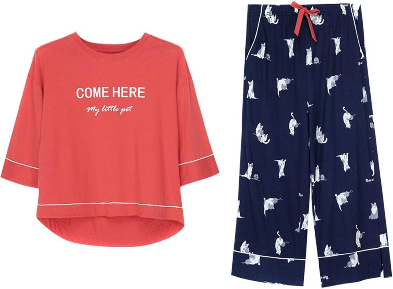 Pajama Sets Four Seasons Cotton Pajamas Ladies TwoPiece Home Service Bathrobe Thin Section (color   Red, Size   M)