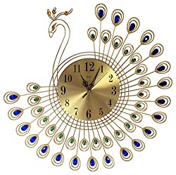 Special Large Wall Clock Peacock Display Wall Clock With Rhinestones