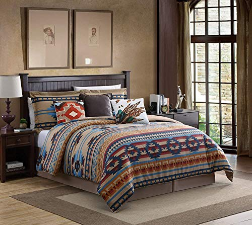 Chezmoi Collection Wyoming 7-Piece Southwestern Geometric Tribal Comforter Set - Printed Multicolor Beige Brown Blue Red, Queen