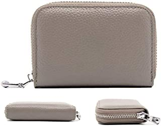 QLTYPRI Women Credit Card Holder Wallet Soft PU Leather Zipper Pocket ID Business Card Case Accordion Style Unisex Blocking Clutch Cash Coin Slot Mini Purse for Men Women - Grey