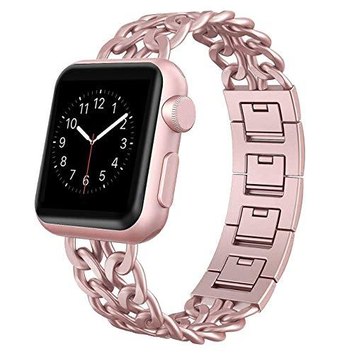 AmzAokay - Correa de Repuesto para Apple Watch de 38 mm y 42 mm de Acero Inoxidable y Metal para Apple Watch de 40 mm y 44 mm, Serie 4, 3, 2, 1, Sport y Edition, 38mm/40mm, A-Oro Rosa