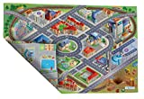 ACHOKA Tapis de Jeux Ultra Fin Réversible Ville et Routes pour Bébés et Enfants – Filles et Garçons- Polyester Résistant- 100x150cm - Routes Connectables avec Autres Designs