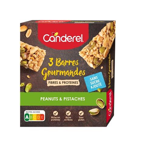 CANDEREL - Canderel Barres Gourmandes Peanuts & Pistaches – Riches en Fibres et Protéines, Sans Gluten et Sans Sucre Ajouté | 3 X 35g