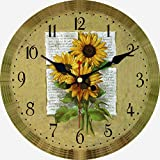 MEISTAR Wooden 12 Inch Antique Style Simple Sunflower Design Brown Round Wall Clocks,Living Room,Kitchen,Office Decoration Easy to Read Wall Clocks