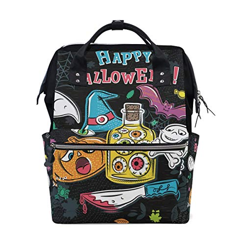 NHJYU Halloween Gift Emotion Travel Mochila Large Nappy Bolsa de pañales Laptop Mochilas for Women Men